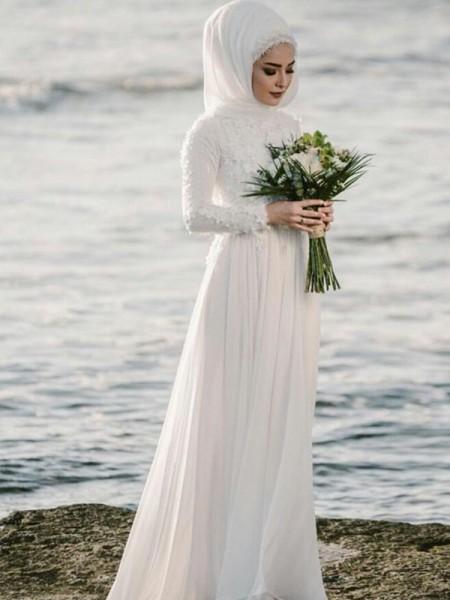 Corte en A/Princesa Escote Joya Manga Larga Hasta el Suelo Apliques Chifón Vestidos de Novia