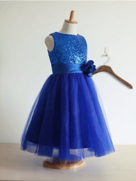 Corte en A/Princesa Escote Joya Sin Mangas hechas a mano Flores Tul Largo Vestidos