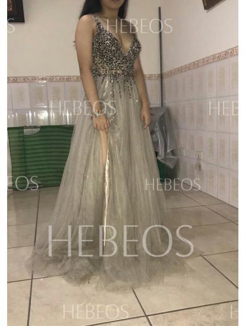 39b4d9be1 Corte en A Princesa Sin Mangas Escote en V Tul Lentejuelas Paillette ...